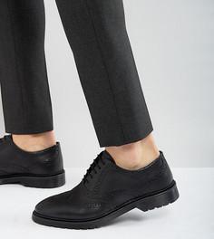 Черные кожаные броги для широкой стопы с рифленой подошвой ASOS - Черный