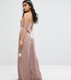 Платье макси с лифом-бандо и бантом на спине TFNC WEDDING - Розовый