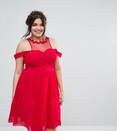 Короткое приталенное платье с открытыми плечами Little Mistress Plus - Розовый