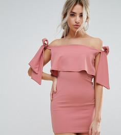 Облегающее платье со спущенными плечами и завязками Missguided Petite - Розовый