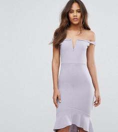Платье миди с оборкой по краю Missguided Tall - Серый