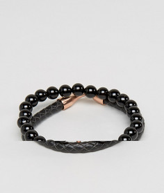 Набор браслетов (кожаный/ с ониксом) Simon Carter - Черный