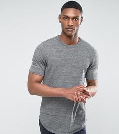 Черно-белая меланжевая удлиненная футболка с закругленным краем ASOS TALL - Серый