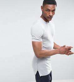 Серая обтягивающая футболка удлиненного кроя с молниями по бокам ASOS TALL - Серый