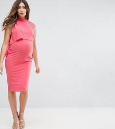 Платье с высоким воротником и завязками по бокам ASOS Maternity NURSING - Оранжевый