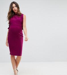 Платье с высоким воротником и завязками по бокам ASOS Maternity NURSING - Фиолетовый