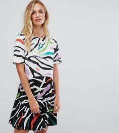 Платье мини с заниженной талией и анималистическим принтом ASOS TALL - Мульти