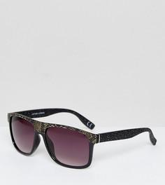 Солнцезащитные очки-маска в оправе со змеиным принтом и градиентными стеклами Jeepers Peepers - Черный