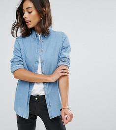 Выбеленная синяя джинсовая рубашка ASOS PETITE - Синий