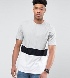 Серая футболка в стиле колор блок Jacamo TALL - Серый