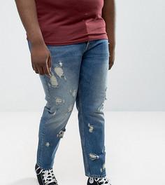 Джинсы слим в винтажном стиле с рваной отделкой ASOS PLUS - Синий