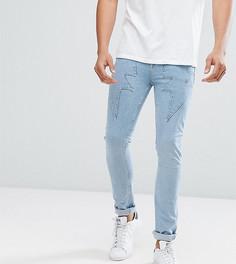 Светло-голубые супероблегающие джинсы с отделкой в виде молний ASOS TALL - Синий