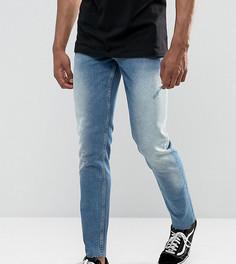 Узкие джинсы с потертостями ASOS TALL - Синий