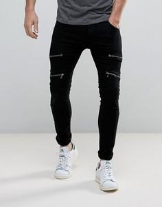 Зауженные байкерские джинсы на молниях Soul Star - Черный
