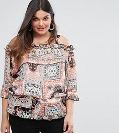 Блузка с открытыми плечами и принтом Lovedrobe - Мульти