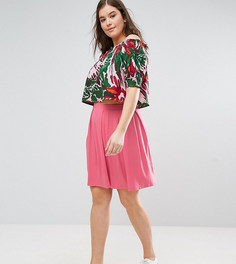 Расклешенная мини-юбка со складками ASOS CURVE - Розовый