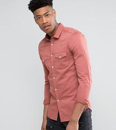 Розовая джинсовая зауженная рубашка в стиле вестерн ASOS TALL - Розовый