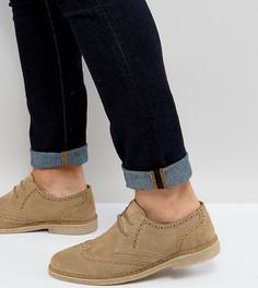Замшевые туфли дерби для широкой стопы с натуральной подошвой ASOS - Светло-серый