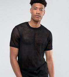 Черная сетчатая футболка ASOS TALL - Черный