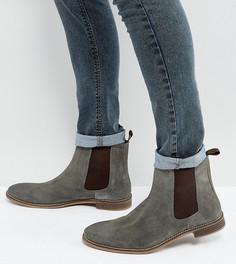 Серые замшевые ботинки челси для широкой стопы ASOS - Серый