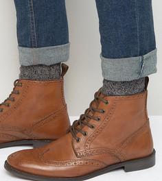 Светло-коричневые кожаные ботинки-броги для широкой стопы ASOS - Рыжий