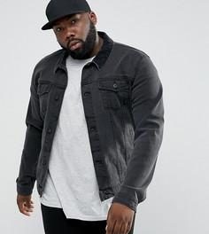 Черная приталенная джинсовая куртка с велветовым воротником ASOS PLUS - Черный