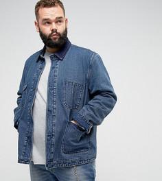 Джинсовая куртка с вельветовым воротником ASOS PLUS - Синий