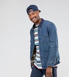 Синяя джинсовая куртка с вельветовым воротником ASOS TALL - Синий