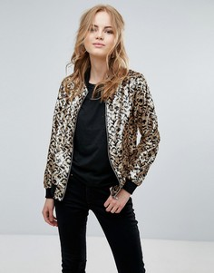 Куртка с леопардовым принтом и пайетками Glamorous - Коричневый
