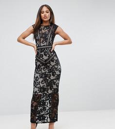 Кружевное платье макси Little Mistress Tall - Черный
