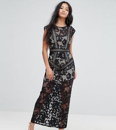 Кружевное платье макси Little Mistress Petite - Черный
