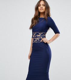 Платье-футляр миди с вышивкой Little Mistress Tall - Темно-синий