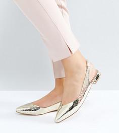 Туфли на плоской подошве для широкой стопы Faith - Золотой