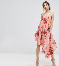 Асимметричное платье на бретельках с цветочным принтом Hope & Ivy - Мульти