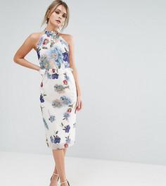 Платье миди с высоким воротом и цветочным принтом Hope & Ivy - Мульти