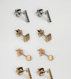 Набор из 4 пар сережек-гвоздиков (золотистые/серебристые) Icon Brand - Мульти