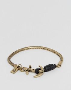 Золотистый браслет-цепочка с якорем Icon Brand - Золотой