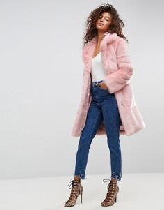 Пальто миди из искусственного меха ASOS - Розовый