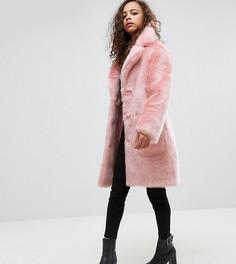 Пальто миди из искусственного меха ASOS PETITE - Розовый