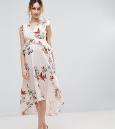 Платье миди с цветочным принтом и асимметричным краем Hope & Ivy Maternity - Мульти