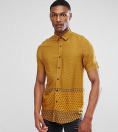Рубашка классического кроя из вискозы с принтом ASOS TALL - Коричневый