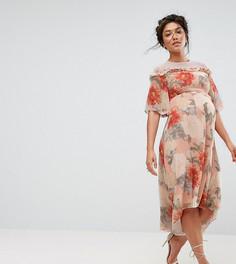 Платье миди с принтом и кружевной отделкой Hope & Ivy Maternity - Мульти