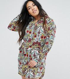 Платье-рубашка с цветочным принтом AX Paris Plus - Мульти