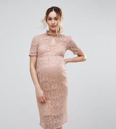 Кружевное платье-футляр Hope & Ivy Maternity - Розовый