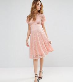 Короткое приталенное кружевное платье с расклешенными рукавами ASOS Maternity TALL - Розовый