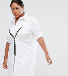 Хлопковое платье-рубашка с отделкой ASOS CURVE - Белый