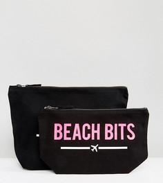 Комплект дорожных чехлов с надписями Bikinis и Beach Bits Crazy Haute - Розовый