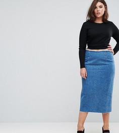 Синяя выбеленная джинсовая юбка-карандаш миди ASOS CURVE - Синий