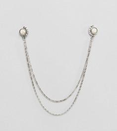 Серебристые уголки для воротника с цепочкой и камнями DesignB эксклюзивно для ASOS - Серебряный