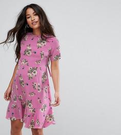 Чайное платье с цветочным принтом и шнуровкой на спине ASOS Maternity - Розовый